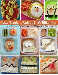 Fun back to school lunch ideas ;-) These are so cute, even if you just pick one, your kids will love!  Include a special note from Mom and lunch will be complete. www.shopsophies.com for note cards or flat notes.