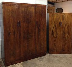 Vintage Walnut Veneer Triple Linen Press Gentlemen's Wardrobe   eBay