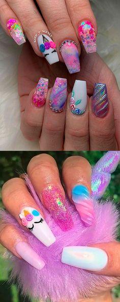 The Best Unicorn Nail Art Design Ideas & Tutorials So beautiful long coffin shaped unicorn nails ideas Unicorn Nail Art, Unicorn Nails Designs, Colorful Nail, Blue Nail, Pointy Nails, Coffin Nails, Acrylic Nails, Love Nails, My Nails