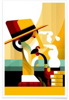 A man with a pipe als Premium Poster von Oscar Odd Diodoro | JUNIQE