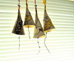 Personalized Bell - HandMade TO ORDER Custom Stamped & Illustrated Musical Bell Instrument - Inspirational Kids Nursery Hanging Wind Chime Clay Art Projects, Ceramics Projects, Ceramic Pottery, Ceramic Art, Mobiles, Kids Clay, Clay Studio, Cute Clay, Clay Creations