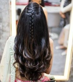 Indian Bridal Wedding Hairstyles for Short to Long Hair - Hair Styles 2019 Open Hairstyles, Indian Hairstyles, Hairstyles Haircuts, Hairstyles For Lehenga, French Plait Hairstyles, Braided Hairstyles For Long Hair, French Plaits, Hairdo For Long Hair, Simple Hairstyles