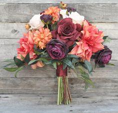Silk Flower Wedding Bouquet Bouquet Wedding by Hollysflowershoppe