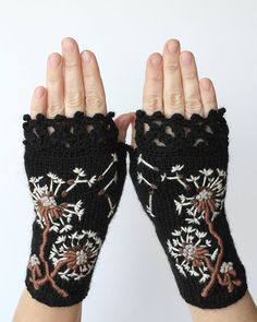 Knitted Fingerless Gloves, Dandelion, Black, Ivory, Fall Fashion Accessories, Gloves & Mittens, Gift Ideas, For Her, Winter Accessories