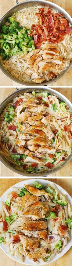 Creamy Broccoli Chicken and Bacon Pasta
