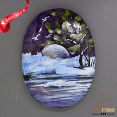Colorful Pendant Hand Painted Scenery Natural Gemstone   ZL805635 #ZL #Pendant