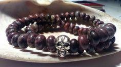 Men's skull Chohua Jasper Stretch bracelets 8' #lihangmad6 #Beaded