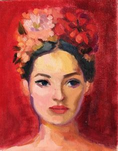 """Flower Crown 2 - Lady in Red"" by Elizabeth Braun. Paintings for Sale. Lady In Red, Red Painting, Abstract Painting, Painting, Oil Painting Abstract, Art, Portrait Painting, Oil Painting Portrait, Online Art Gallery"