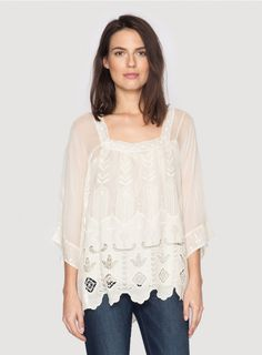 Johnny Was Clothing 4 Love and Liberty Aspen Embroidered Silk Chiffon Blouse in Ecru