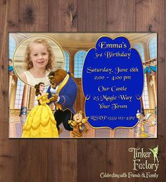 Princess Belle Birthday Party Invitation  Photo by TinkerFactory