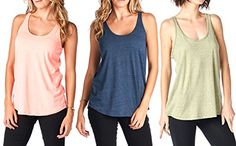 Tough Cookies Womens Flowy Triblend Plain Tank Top Medium Neon CoralOliveNavy ** See this great product.