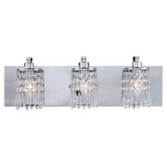 Add a touch of glamour to your master bath or powder room with this 3-bulb vanity light, showcasing crystal-drop pendants and a polished chrome finish.