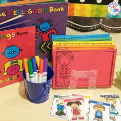 My pre-k and preschool students are in love with my feelings writing center! Todd Parr books, markers, feelings vocabulary cards, and feelings writing paper.