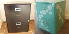 The Happy Housie chalk painted stenciled filing cabinet makeover