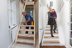 Billedresultat for trappe løsning lavt til loft Sustainable Living, Room Inspiration, Tiny House, Small Spaces, Furniture Design, Stairs, Woodworking, House Design, Building