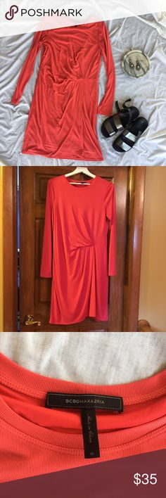 BCBG Coral Jersey Dress BCBG Coral/Pink Jersey Dress. Only flaw is in back left shoulder- tiny pen mark as shown in photo. Silly soft feeling fabric and looks amazing when worn! BCBGMaxAzria Dresses Long Sleeve
