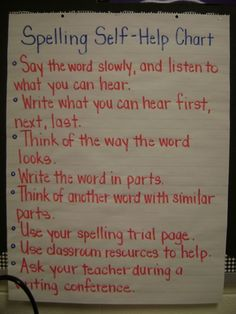 spelling self-help  Could do a mini-lesson on what to do when writing and you don't know how to spell a word and make this chart with the children!