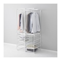 IKEA - $108 - ALGOT, Frame with rod/wire baskets, The parts in the ALGOT series can be combined in many different ways and so can easily be adapted to needs and space.Also stands steady on an uneven floor since the feet can be adjusted.The basket glides smoothly and has a pull-out stop to keep it in place.Can be used anywhere in your home, even in damp areas like the bathroom and under covered balconies.