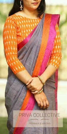 <br> Price : Rs <br> Cotton saree with touch pink and orange Unstitched blouse piece : Orange Ikkat blouse piece as in the pic. Cotton Saree Blouse Designs, Saree Blouse Patterns, Fancy Blouse Designs, Designer Blouse Patterns, Stylish Blouse Design, Chiffon, Lehenga Dupatta, Jamdani Saree, Ikkat Saree