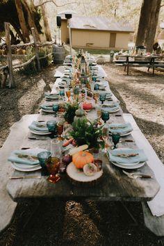 Rustic outdoor camping wedding decor: http://www.stylemepretty.com/2016/10/28/california-camp-wedding/ Photography: Nirav Patel - http://niravpatelphotography.com/