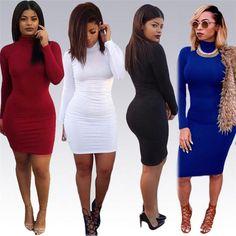 Women's Long Sleeve High Neck Bandage Slim Fit Package Hip Sexy Evening Dress Clubwear Dress