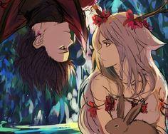 арт, кролик, сережка, девушка, животное, парень, цветы 1280 на 1024