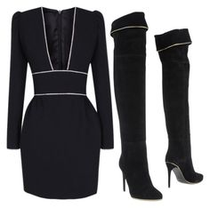 A fashion look from October 2016 featuring sexy dresses and black boots. Browse and shop related looks. Dressy Outfits, Cute Outfits, Fashion Outfits, Types Of Clothing Styles, Le Closet, Date Night Fashion, Classy Wear, Weekend Outfit, Mode Style