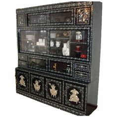 Gifts, Collectibles & Decor for the World Traveler!: Asian Antique Inlaid Mother of Pearl Black Lacquer China Cabinet 1940's Korean Furniture at The Crabby Nook Gift Shop