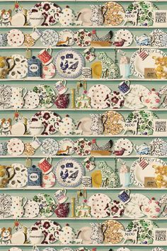 The stunning digital wallpaper design has been translated into this richly detailed fabric - with shelves full of Emma Bridgewater china and trinkets. Shown in the duck egg colourway. Please request sample for true colour and texture. Doll House Wallpaper, Home Wallpaper, Fabric Wallpaper, Emma Bridgewater Pottery, Cole And Son, Wallpaper Online, Colour Schemes, Designer Wallpaper, Decoration