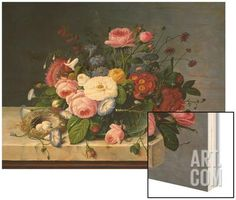Still Life: Flowers on a Marble-Topped Table Wood Print by Severin Roesen at Art.com