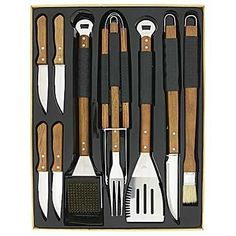 ~10 Piece Deluxe BBQ Set by Mr. Bar-B-Que, INC.. $51.64. This BBQ set is the ultimate arsenal for the Grill Master! Mr. Bar BQ's 10 Piece Deluxe Tool Set comes complete with a spatula, fork, tongs, knife, basting brush, oversized grill brush and 4 quality steak house knives. All backed by a 5-Year Manufacturers Warranty.