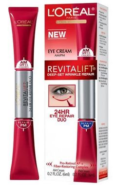 L'Oreal Revitalift eye cream: One end has spf for day time, the other retinol for night - perfect!