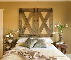 I LOVE this repurposed wood, turned horse gates, turned wall art, turned driveway entrance, turned headboard.