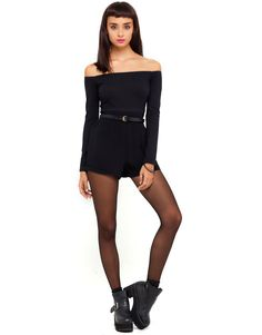Buy Katherine Off Shoulder Long Sleeve Playsuit in Black at Motel Rocks - Motel Rocks