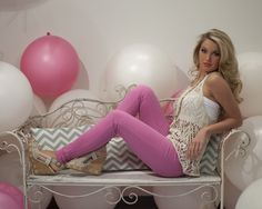 Taupe Crochet Tank with Pink Skinny Jeans