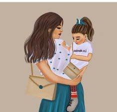 Mother Daughter Art, Mother Art, Mother And Child, Cute Girl Drawing, Cute Drawings, Eid Photos, Mother's Day Projects, Girly M, Girl Cartoon