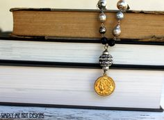 Vintage French Coin, Gemstone, Baroque Pearl, Pyrite and Onyx Necklace... Scintillating Four