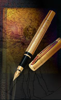 Aurora Leonardo Da Vinci Luxury Pens, Vintage Pens, Calligraphy Pens, Cool Writing, Fountain Pen Ink, Writing Styles, Writing Instruments, Sword, Aurora