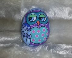 Hand painted stone Owl design by GrannyJamesPantry on Etsy, £8.00