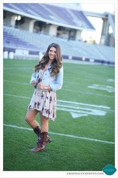 Hornfrog graduate on TCU football field in boots & denim | AmandaLynnPhoto.com | Fort Worth, TX