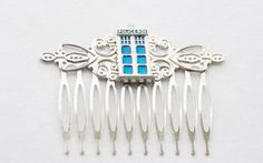 50% Off Silver Tardis Hair Clip / Timelord by SmittenKittenKendall
