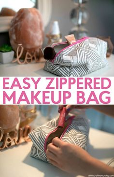 How to sew a zippered makeup bag- It is a boxy pouch that is perfect for storing all your makeup when you travel. It is a great sewing project if you are a beginner sewer or want to learn to sew.