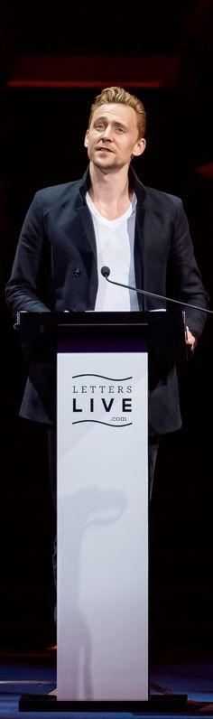 Tom Hiddleston at Letters Live on April 4, 2015. Full size photo: http://i.imgbox.com/vC9awJsR.jpg. Source: Torrilla http://torrilla.tumblr.com/post/116100026590/tom-hiddleston-at-letters-live-on-april-4-2015