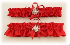 Red Satin Wedding Garter Set with Rhinestone Charms by StarBridal