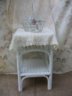 06b33167c58 Shabby Chic Basket - White Metal - Wire Container
