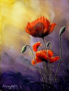 """Sentinels ""  by Lorus Maver    Watercolour of Poppies done on Saunders Waterford 140 LB rough, 410 mm X 310 mm, this is another where i was totally relaxed & i wanted to give the scene a bit of Drama so a lower angle was desired with extreme highlights & shadow.( Best viewed Large )"