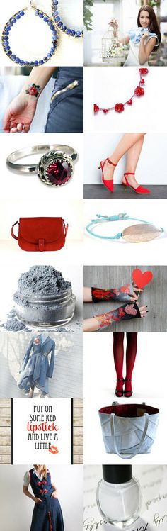 Red, White and Blue Jean by Carolyn Jankovskis on Etsy with #LittleAppleNY #ChayaGallery #ArtJewelerNYC #JewellerybyJora --Pinned with TreasuryPin.com