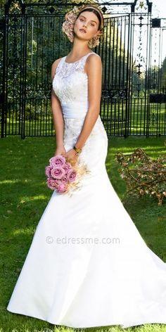 Beaded Illusion Neckline Mermaid Wedding Dresses by Camille La Vie-image