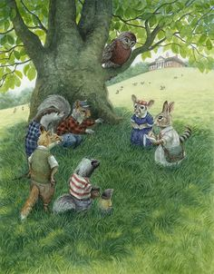 The School Field - Paisley Rabbit starts to make plans for a treehouse building contest between friends.  Another finished illustration for Paisley Rabbit and the Treehouse Contest   Chris Dunn