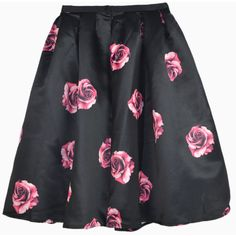 Choies Red Rose Print Flare Skirt In Black (£25) ❤ liked on Polyvore featuring skirts, black, rose print skirt, red knee length skirt, red skirt, red skater skirt and red flared skirt